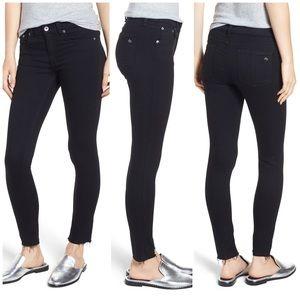 Rag & bone | 26 | black raw hem ankle skinny jeans
